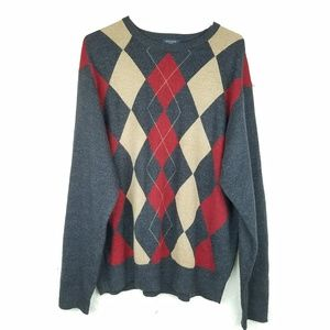 Dockers men sweater size XL grey red v-neck plaid